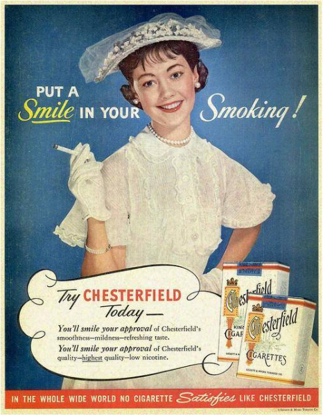 Oude advertentie: Chesterfield 1955